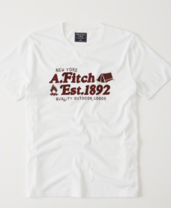 Camiseta Abercrombie & Fitch Logo Graphic Tee White and Red