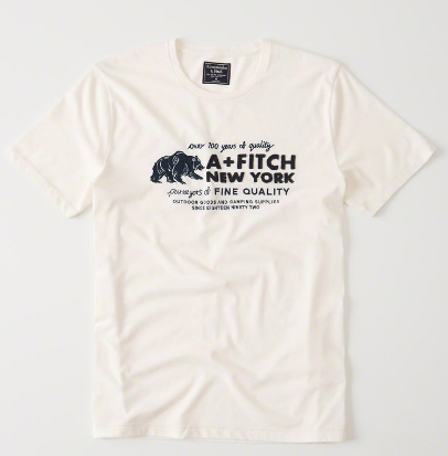 Camiseta Abercrombie & Fitch Logo Graphic Tee White and Navy