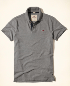 Polo Hollister Stretch Pique Polo Cinza
