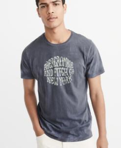 Camiseta Abercrombie & Fitch Tie Dye Logo Tee Navy