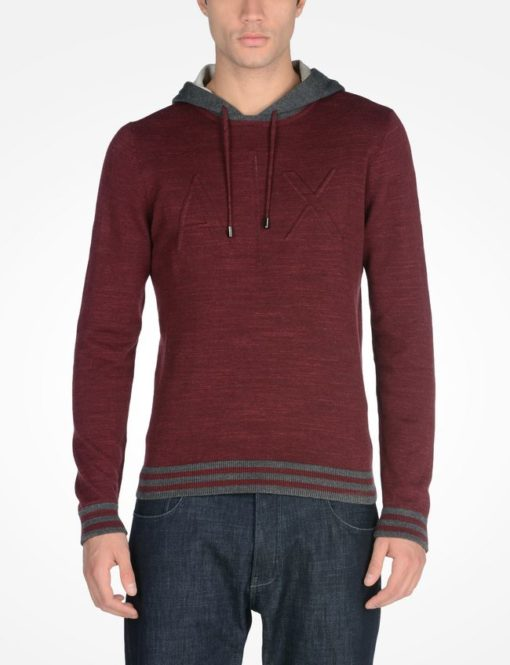 Debossed Logo Sweater With Hood Vermelha