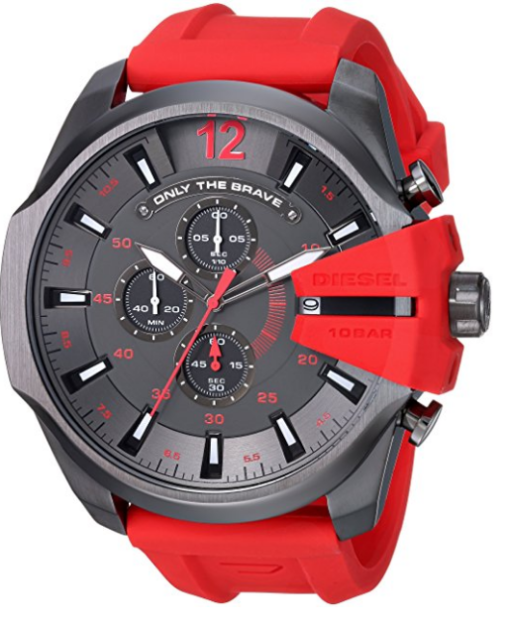Diesel Men's DZ4427 Diesel Mega Chief Gunmetal IP Red Silicone Watch