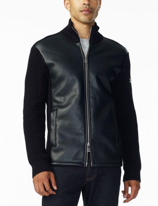 Knit Sleeve Mixed-media Jacket