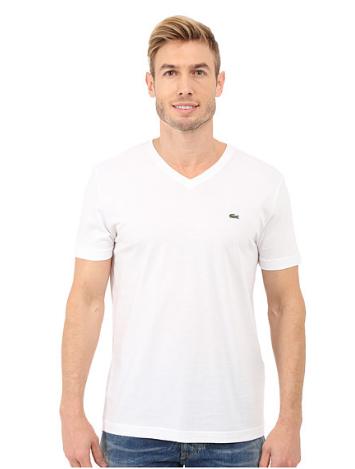 Lacoste Pima Jersey V-Neck T-Shirt Branca