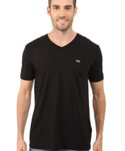 Camiseta Lacoste Pima Jersey V-Neck T-Shirt Preto