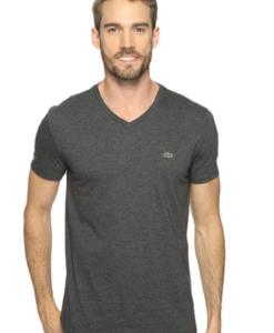 Camiseta Lacoste Short Sleeve V-Neck Pima Jersey Tee Shirt Cinza