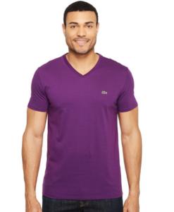 Camiseta Lacoste Short Sleeve V-Neck Pima Jersey Tee Shirt Roxa