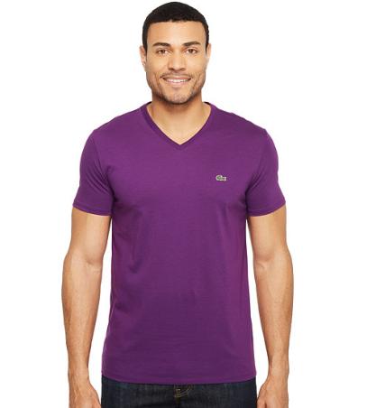 156cbcb4dad Camiseta Lacoste Short Sleeve V-Neck Pima Jersey Tee Shirt Roxa ...
