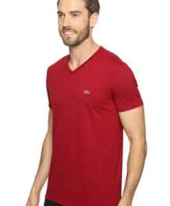 Camiseta Lacoste Short Sleeve V-Neck Pima Jersey Tee Shirt Vermelha