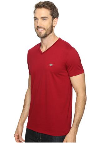 35c182df8bf Camiseta Lacoste Short Sleeve V-Neck Pima Jersey Tee Shirt Vermelha ...