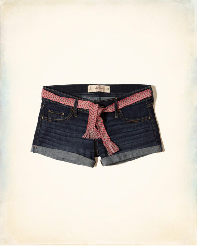 Low-Rise Denim Short-Shorts With Removable Belt  Pink