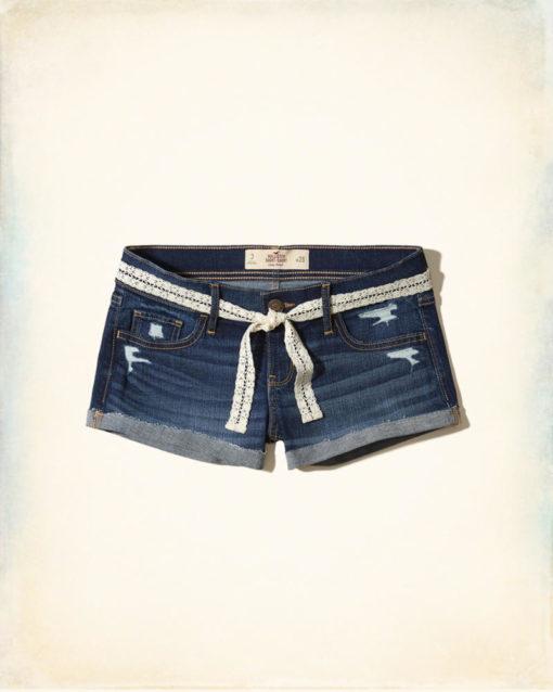 Low-Rise Denim Short-Shorts With Removable Belt jeans
