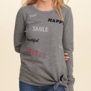 Tie-Front Graphic Crew Sweatshirt