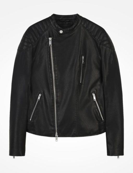 Agasalho Asymetrical Faux-leather Moto Jacket