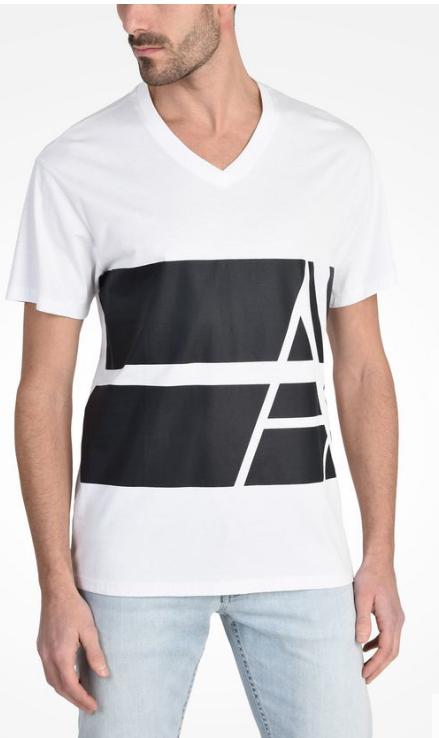 5820de82e04b5b  Camiseta Armani Exchange Bold Striped Logo Tee Branca -  EuEnvio . cae67c44e5a70
