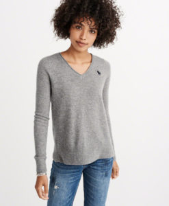 Blusa Abercrombie & Fitch Cashmere Icon V-neck Sweater Cinza