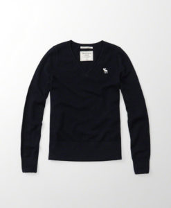 Blusa Abercrombie & Fitch Cashmere Icon V-neck Sweater Azul