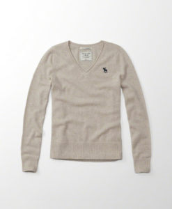 Blusa Abercrombie & Fitch Cashmere Icon V-neck Sweater Bege