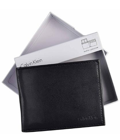 Carteira Calvin Klein Men s Leather Passcase Bifold Wallet-Black ... 09754b3cf2