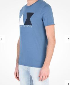 Visualiza Rápida. -18%. Camiseta Armani Exchange Geometric Logo Azul bdeef3f69691a