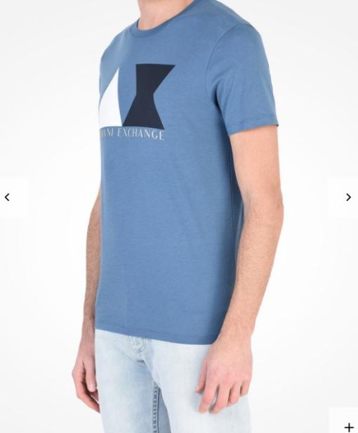 Camiseta Armani Exchange Geometric Logo Azul