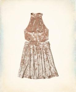 Vestido Cutout High-Neck Velvet Skater Dress
