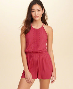 Macaquito Lace-Trim Knit Romper
