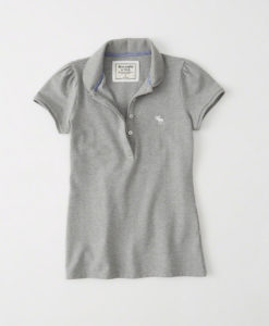 Blusa Abercrombie & Fitch Rounded Collar Polo Cinza