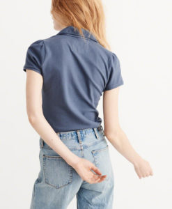 Blusa Abercrombie & Fitch Rounded Collar Polo Azul