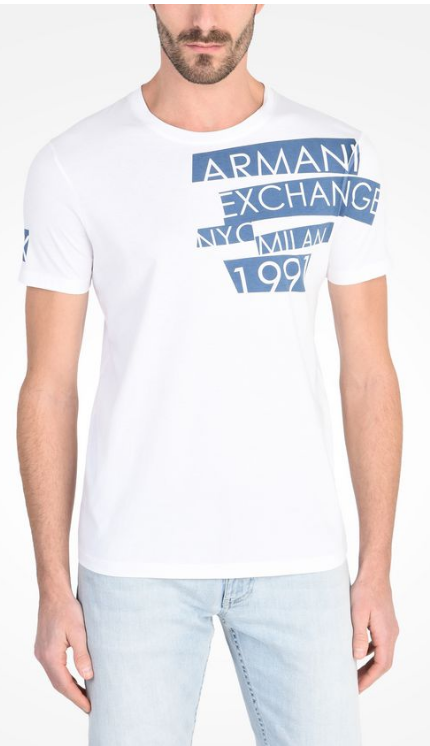 Camiseta Armani Exchange Shoulder Logo Tee Branca - EuEnvio ... 2a8bd160e9fee