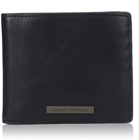 Armani Exchange Men's Leather Bifold Wallet With Logo Plate