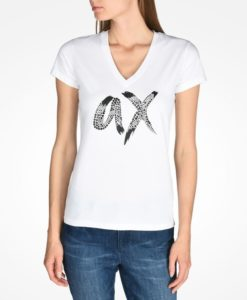 Camiseta Armani Exchange Beaded Ax V-neck Tee Branca