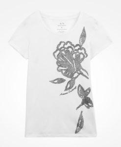 Camiseta Armani Exchange Bold Textured Floral Print Tee Branca