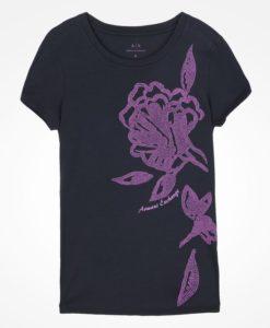 Camiseta Armani Exchange Bold Textured Floral Print Tee Preta