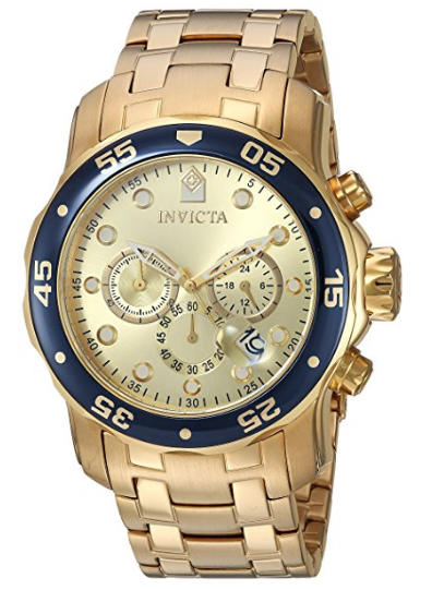 More buying choices for Invicta Mens Pro Diver Scuba Swiss Chronograph Champagne Dial 18k Gold Plated Watch 80068