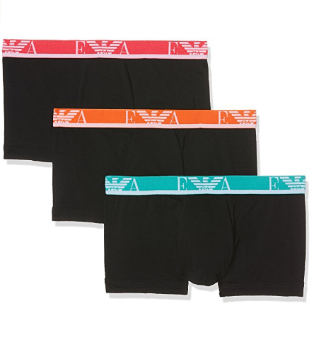 Emporio Armani Stretch Cotton Eagle Logo Trunks, 3-Pack