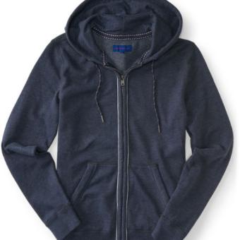 Heathered Piped Full-zip Hoodie Azul