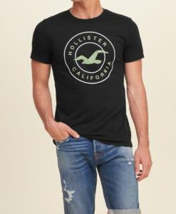 Camiseta Hollister Logo Graphic Noir Homme