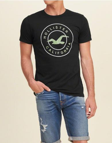 d020c7a9fc Camiseta Hollister Logo Graphic Noir Homme - EuEnvio Importados ...