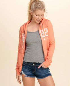 Agasalho Hollister Lace Applique Logo Graphic Hoodie