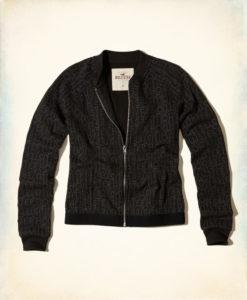 Agasalho Hollister Logo Elastic Fleece Bomber Jacket