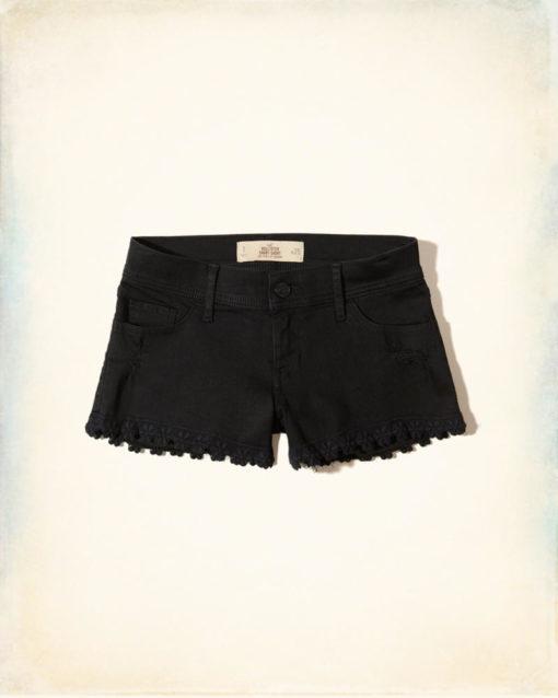 Short Hollister Low-Rise Denim Short-Shorts Preto
