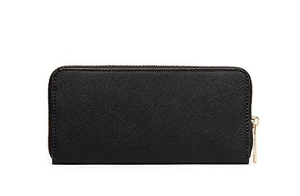 714d9665260 Bolsa Michael Kors Women s New Fashion Large Leather Shoulder Bag+Jet Set  Travel Saffiano Leather Continental Wallet Black