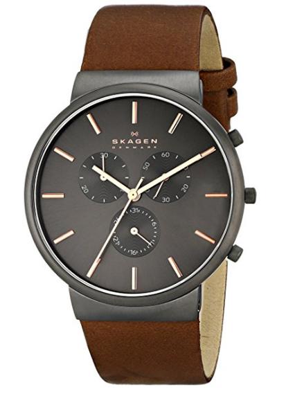 Relógio Skagen Men's SKW6106 Ancher Saddle Leather Watch