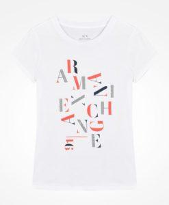 Camiseta Armani Exchange Studded Scrambled Letter Logo Tee Branca