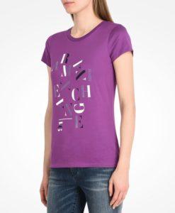 Camiseta Armani Exchange Studded Scrambled Letter Logo Tee Roxa
