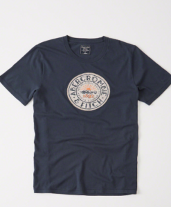 Camiseta A&F Applique Logo Graphic Tee Navy