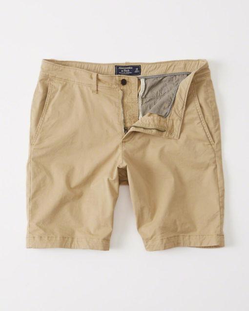 Bermuda Abercrombie & Fitch Flat-front Garment Dye Shorts khaki