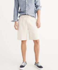Bermuda Abercrombie & Fitch Sport Burnout Fleece Shorts Cream