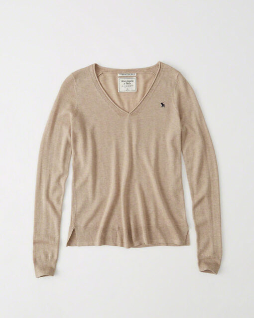 Blusa Abercrombie & Fitch Cashmere Silk V-Neck Sweater